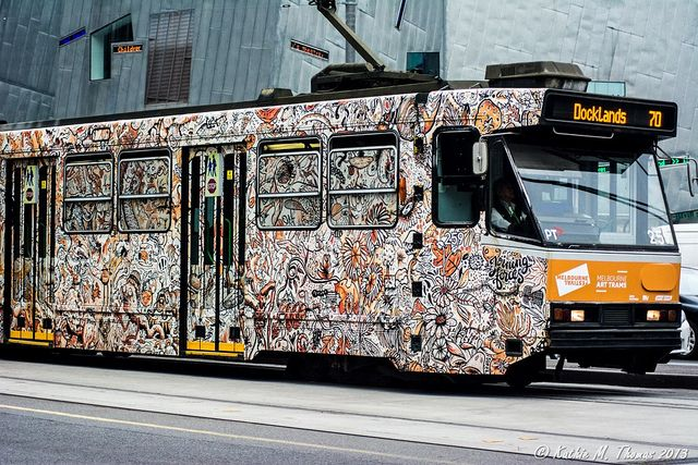 Painted Melbourne tram