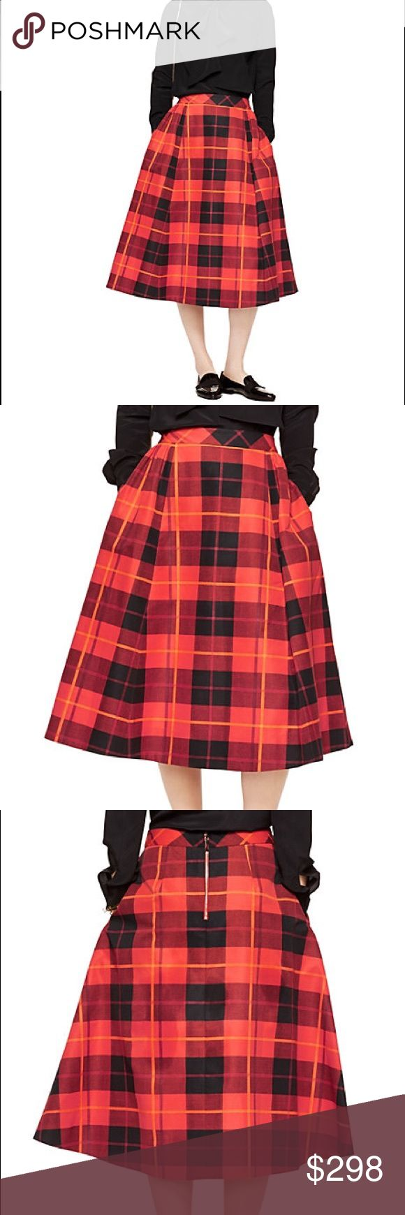 Kate Spade New York woodland plaid midi skirt This a-line midi is a versatile piece that walks the line of being masculine/feminine. It has large plaid print and side seam pockets! 74% cotton and 26% silk. kate spade Skirts Midi