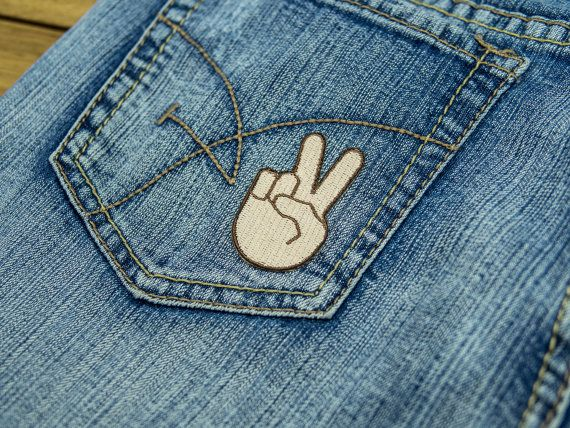 Peace Sign Emoji Iron on Patch by WinksForDays on Etsy