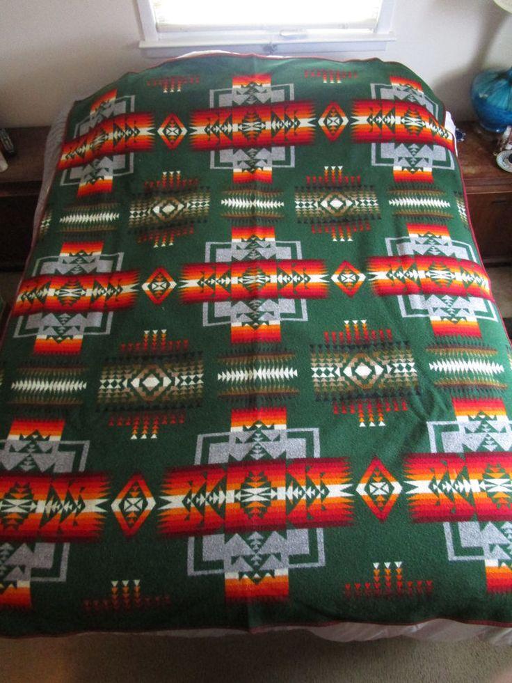"""Vintage Beaver State Pendleton Woolen Mills Wool Southwestern Blanket 79"""" x 63""""  #Pendleton"""