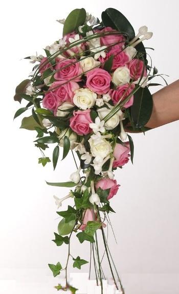 White & Pink Bridal Bouquet   Bukiet Slubny: roze