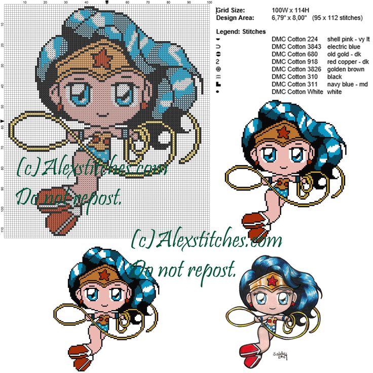 Wonder Woman cross stitch pattern 100x114 8 colors
