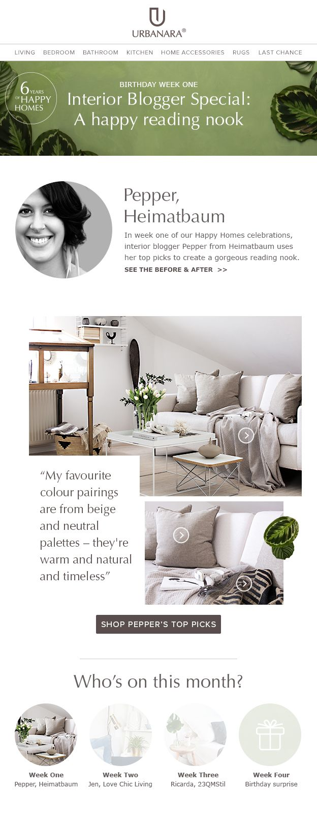 URBANARA newsletter template for blogger inspiration with Heimatbaum and 'get the look' home textiles and decor. Follows us for tips and inspiration for your home decor, interior or fashion newsletters.
