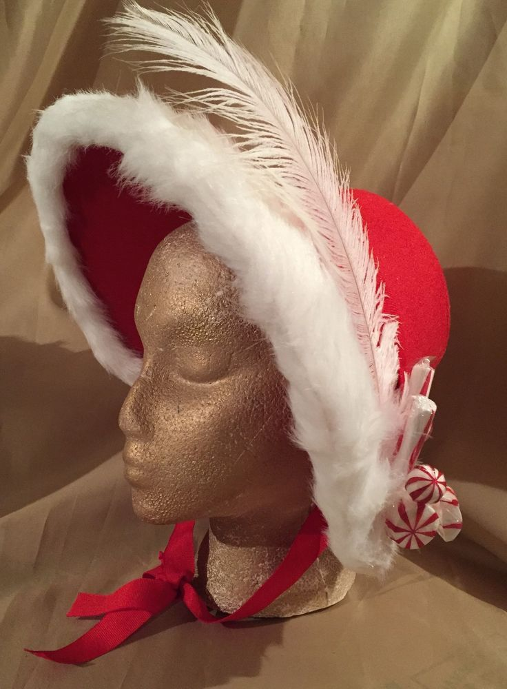 RED Lady Dickens Costume Accessory Christmas Caroler Hat White Faux Fur/ Feather #COSTUME #VICTORIAN #CHRISTMAS