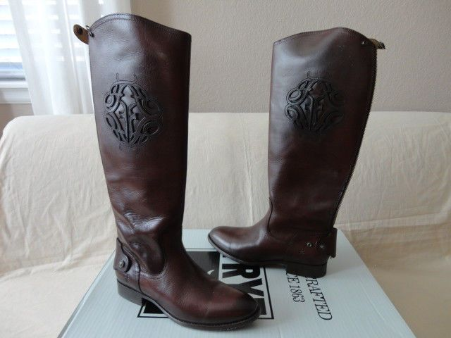 NEW FRYE LINDSAY LOGO TALL RIDING BOOTS Back Zip Chocolate