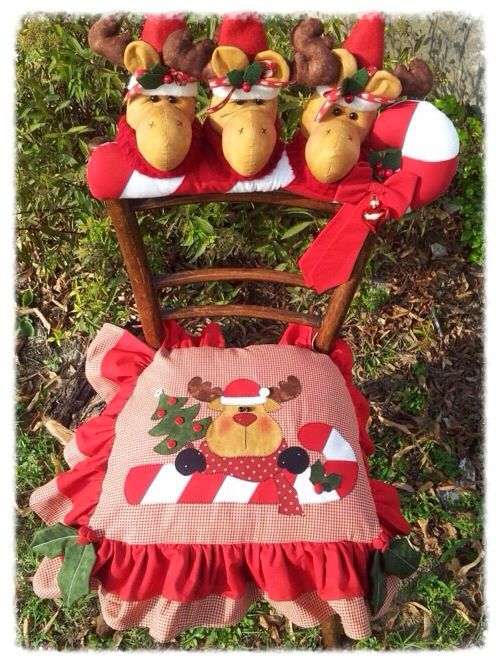 Cartamodelli Natale 2012 : Cartamodello seduta e spalliera con renna sul candy-cane