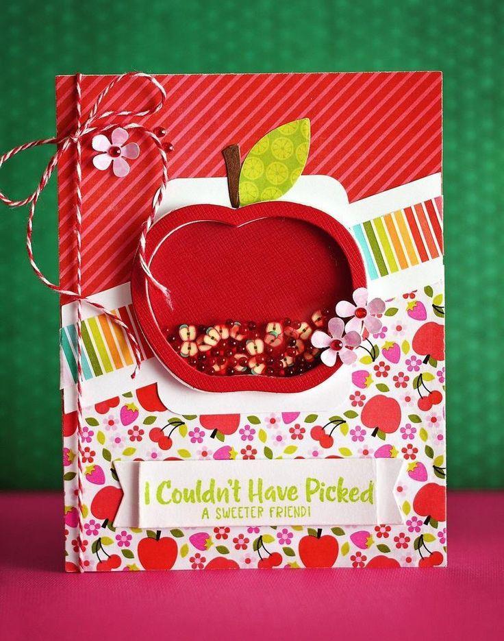 Поздравление днем, открытка яблоко