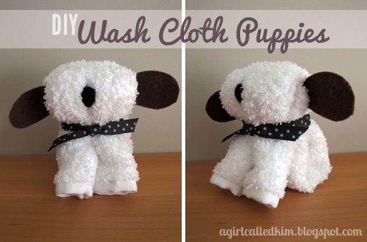 {DIY} Wash Cloth Puppies - I have seen these but ears are made with the wash cloth also... use this for inspiration?