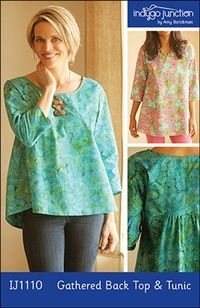 The simple, basic, pull-over top sewing pattern features a gently curved neckline & hemline, 3/4 length sleeves and a horizontal gathered seam detail in the back. Two lengths are included: mid-hip and mid-thigh. Make this top in cotton (shown above in teal cotton batik) or create in voile or rayon for a beautiful drape. Sizes: XS - 3XL