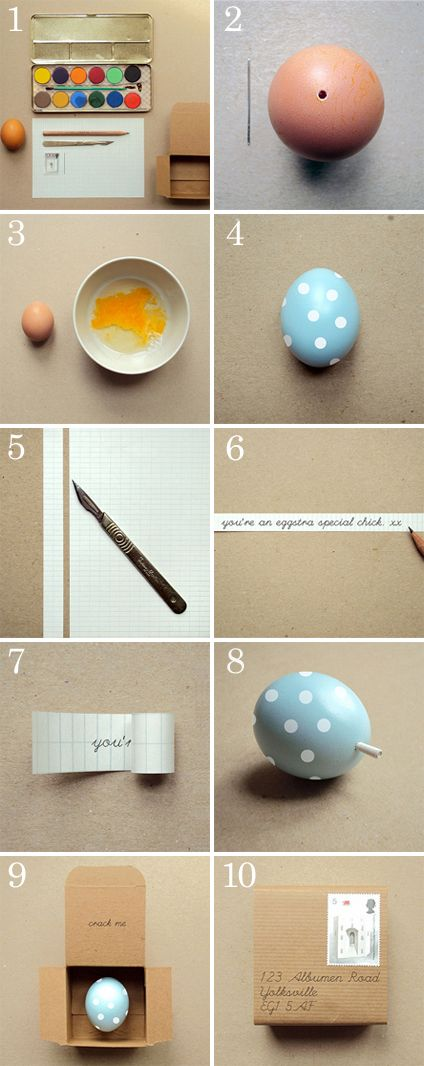 message in an egg.  This is my new birthday card method.