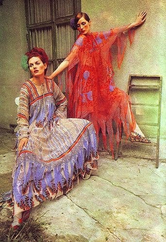 Chiffon dresses that seem to float ~ From a feature on Zandra Rhodes in The Australian Women's Weekly, 21 July, 1971.