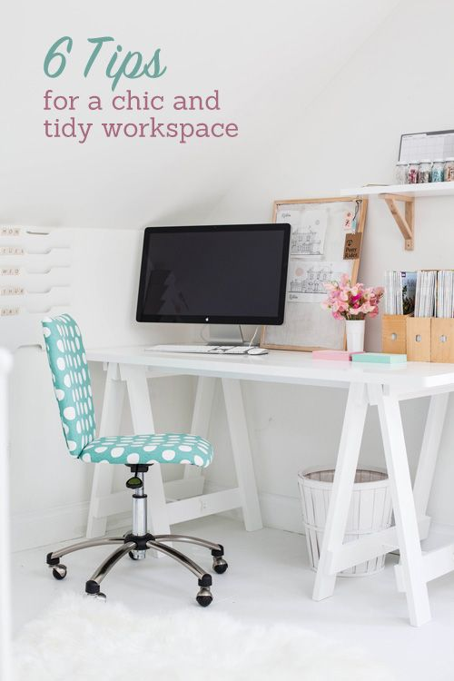 Operation Organize: 6 Tips for a Chic and Tidy Desk, but i pinned it mainly because of the beautyfull desk. Love the white with the wooden and with not to much clutter and the main focus the computer!