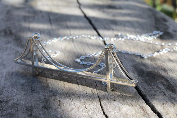 3DPrinted Sterling Sliver Golden Gate Bridge by hrvst3D on Etsy, $110.00 #3d #printed #jewelry #sanfrancisco