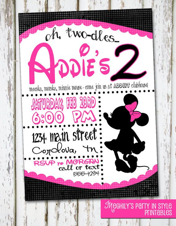 Minnie Mouse Invitation by Meghilys on Etsy, $10.00