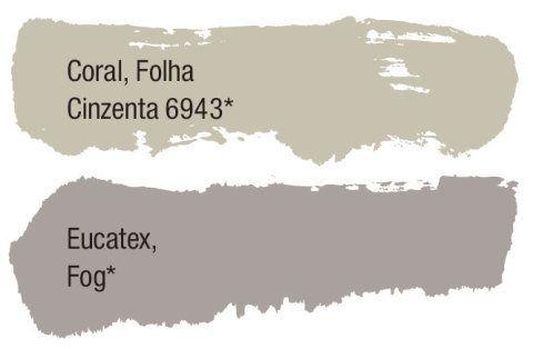 Sugestão dos fabricantes - As cores neutras propostas por alguns fabricantes mostram que a delicadeza dos tons translúcidos segue em alta no próximo ano. Caso deste matiz aguado e elegante da classe dos verdes da Coral. A outra cor foi pinçada entre os cinzas da Eucatex.