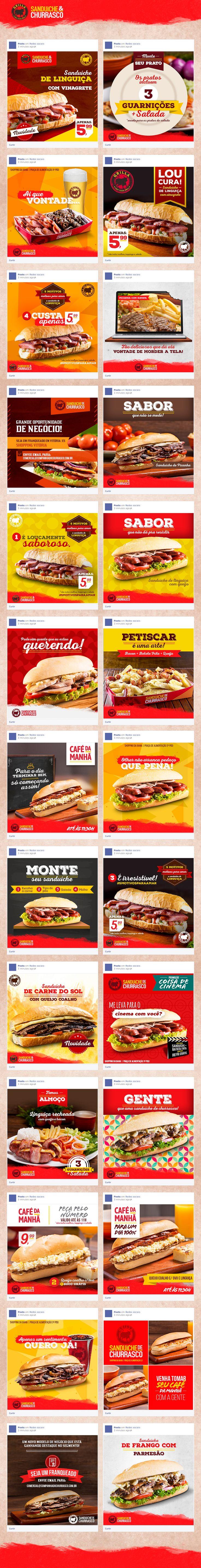 Criação de peças para as redes sociais do restaurante Grilla - Sanduíches de Churrasco