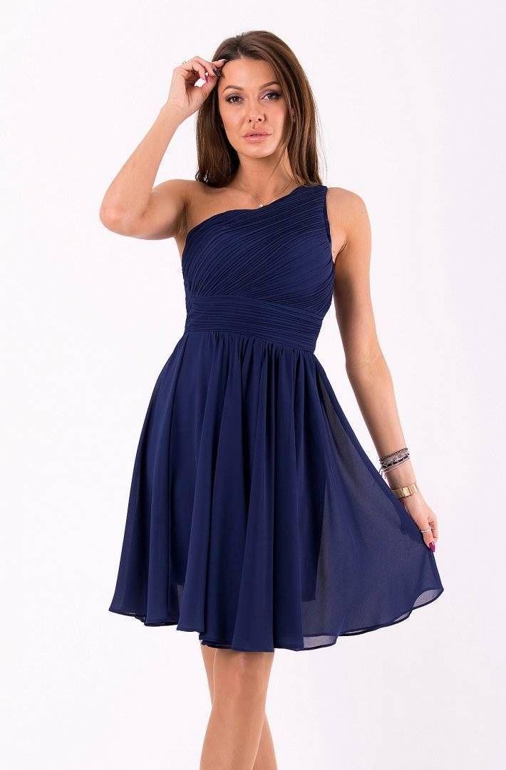 65f86662c8 Navy Blue One Shoulder Mini Dress in 2019