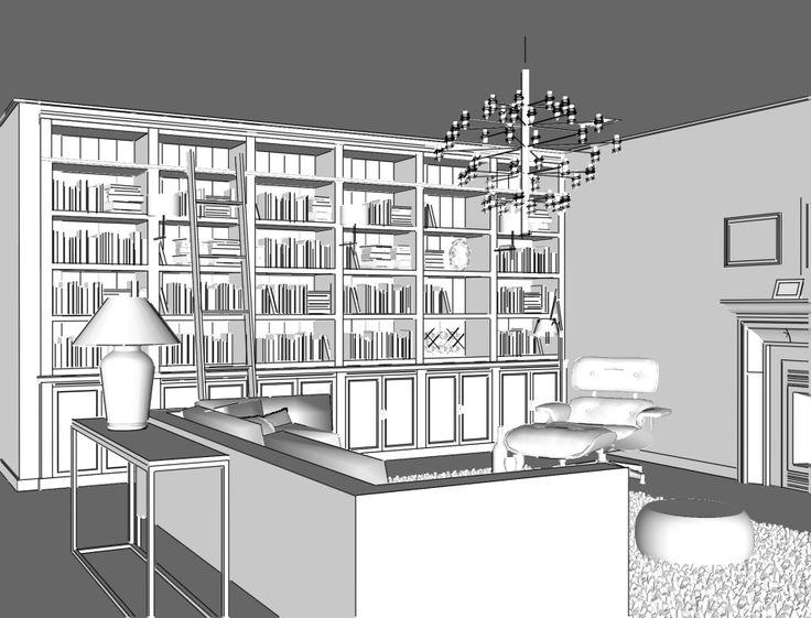 Maatwerk boekenkast met trap - Inndoors Meubelen en Interieur
