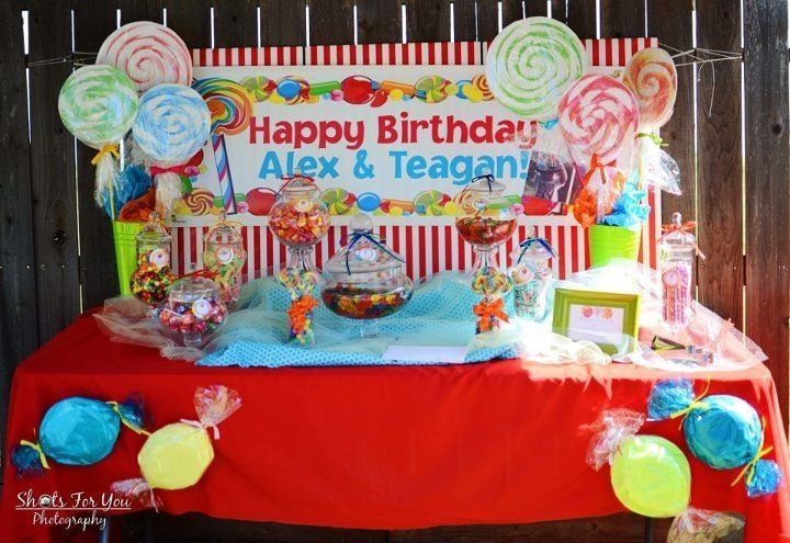 This amazing candyland theme candy buffet was for twin boys 2nd birthday celebration the sweet - Candyland party table decorations ...