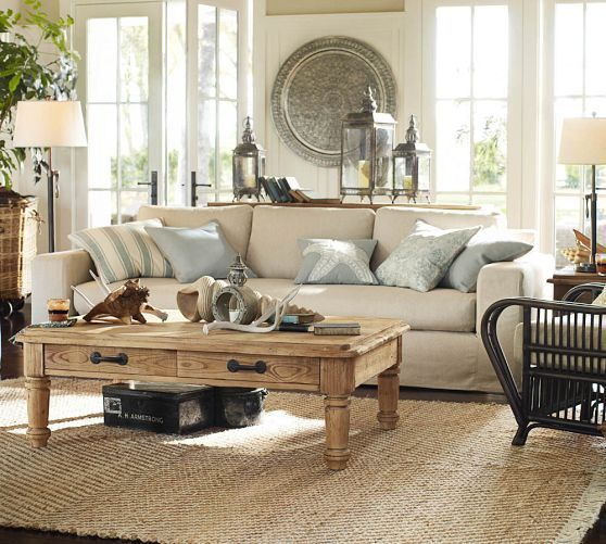Living room grey taupe white pottery barn interior for Pottery barn family room