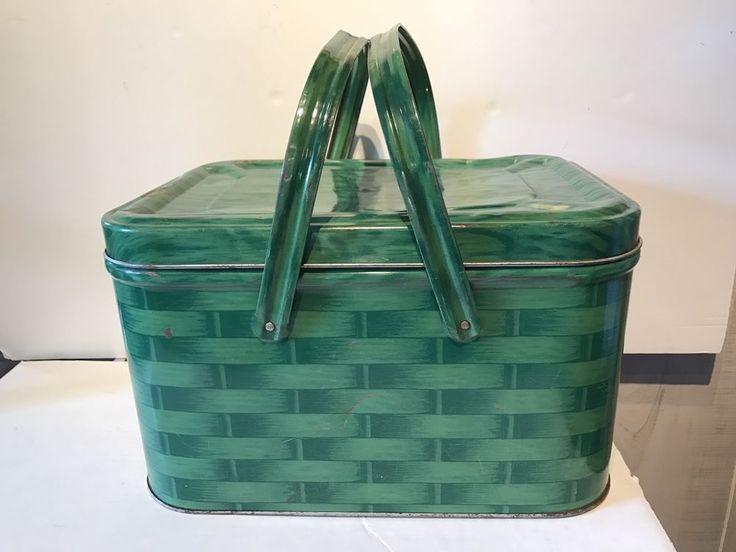 Vintage Aluminum/Metal Picnic Basket Green Basket Weave Retro/Midcentury