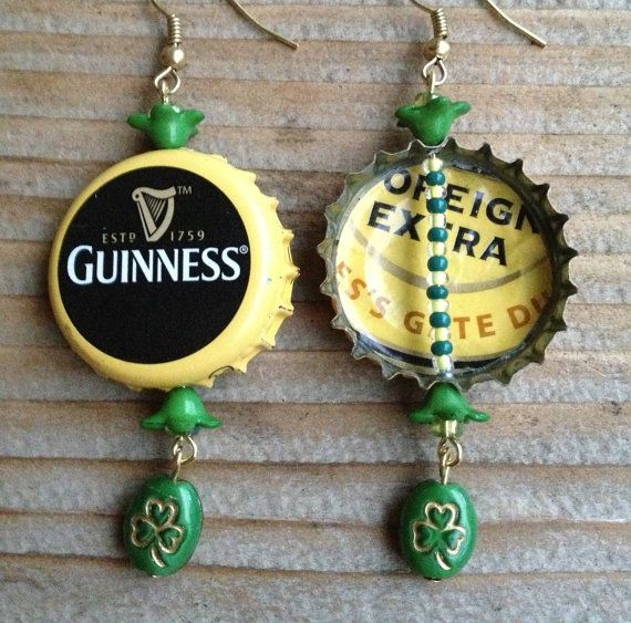 Guinness Beer Bottle Cap Earrings by TinyMayor on Etsy