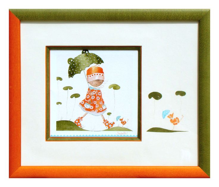Petit oiseau réalisé par Claire en 2011 Biseau à 45° vert avec filet orange. Filet bleu cranté en bas. Sur le PP Claire a peint un rappel des motifs de la carte. Image décentrée. Baguette de 2 couleurs.