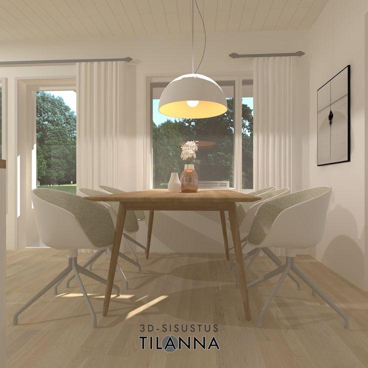 3D-visualisointi ja -sisustussuunnittelu ennakkomarkkinoinnissa olevaan uudiskohteeseen/ moderni - skandinaavinen ruokailutila/ As Oy Jyväskylän Viherpeippo, VRP/ 3D-sisustus Tilanna
