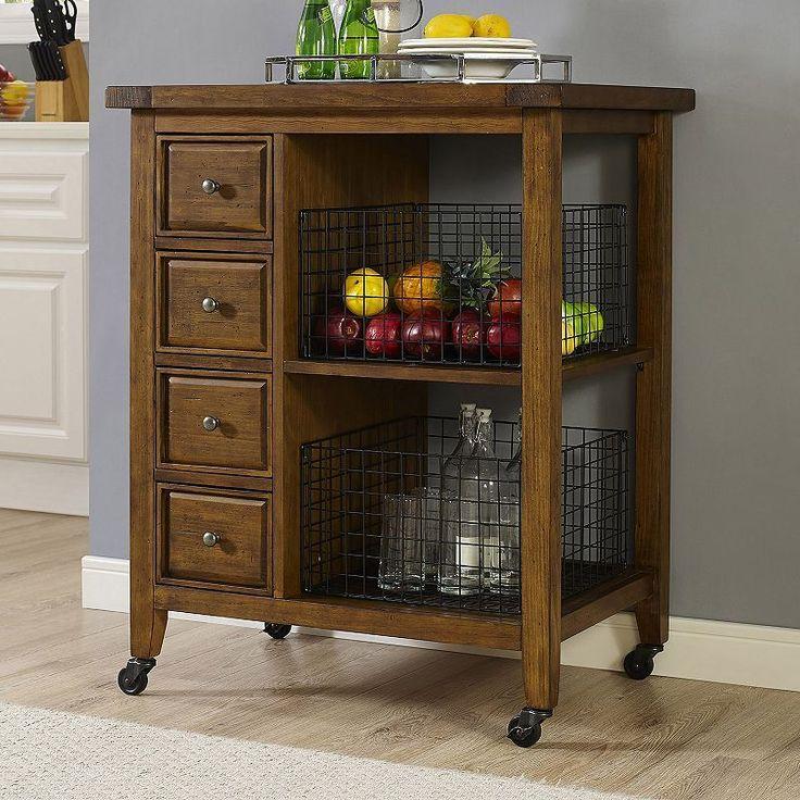 crosley furniture sienna rolling kitchen cart u0026 wire basket 3piece set brown