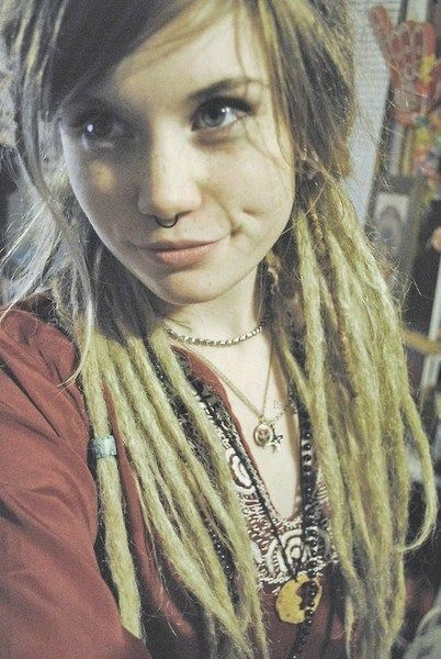 hippie plunge tunic beaded necklaced lovely styled blonde dreadlocks  septum piercing  boho