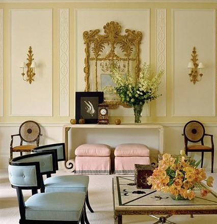 Gorgeous pastel hued room designed by Albert Hadley.