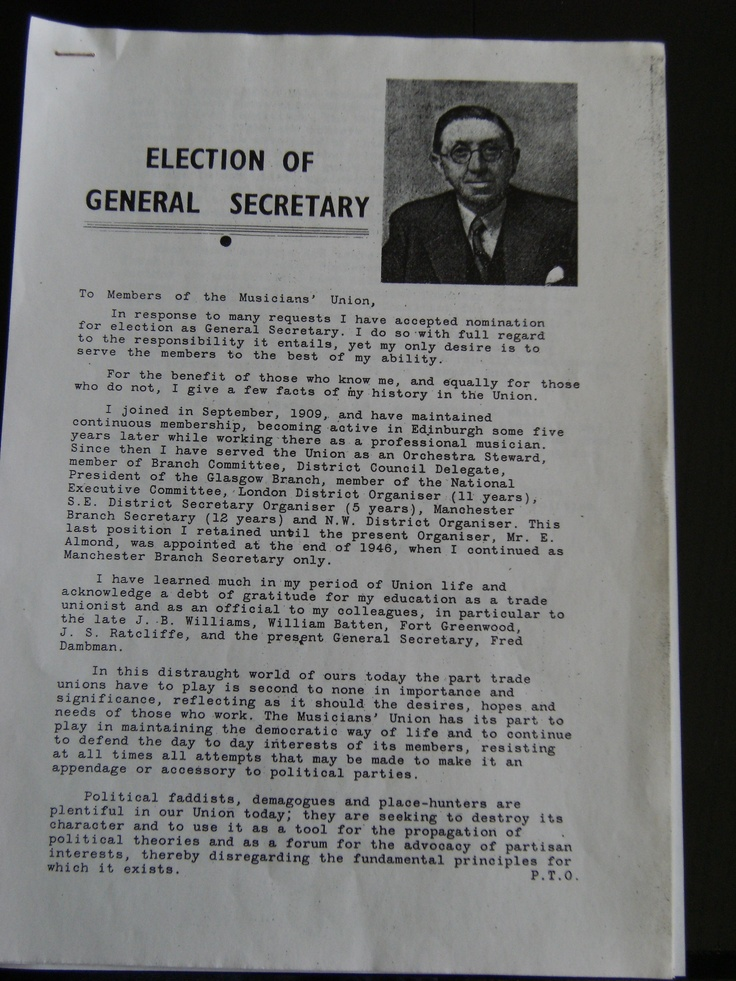 The address to members of B.Newton Brook when standing for General Secretary in 1948. He was defeated by Hardie Ratcliffe (1 of 2)