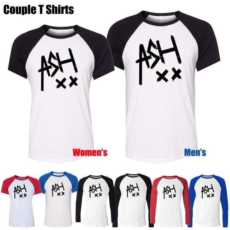 ASH 5SOS Ashton Irwin Music Tumblr 5 SOS Band Design Printed T-Shirt Women's Girl's Graphic Tops Red or Black Sleeve
