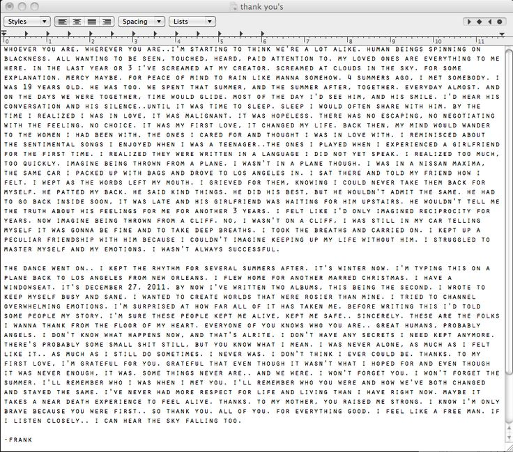 Frank Ocean. If you have a spare few minutes, reading this is well worth it ❤
