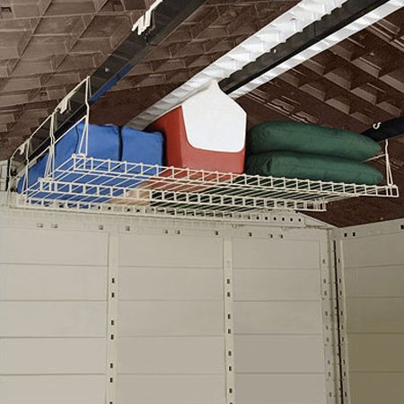 White Wire Storage Loft -great for storing lawn and garden equipment and hazardous materials to keep them out of reach of children.