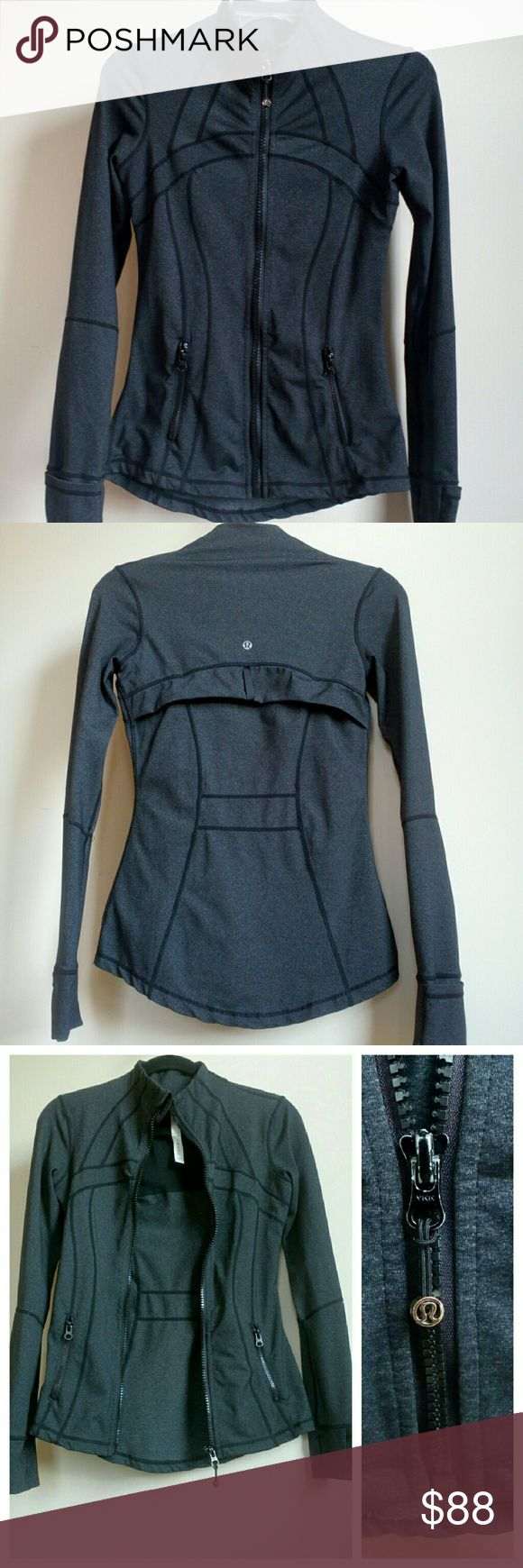 LuluLemon jacket? LULULEMON jacket in?gray color, zip down, thumb holes. Snug fit. Thick fabric. Worn, no flaws. Some wear marks on metal zipper slider if look close. Jacket is n great condition! lululemon athletica Jackets & Coats