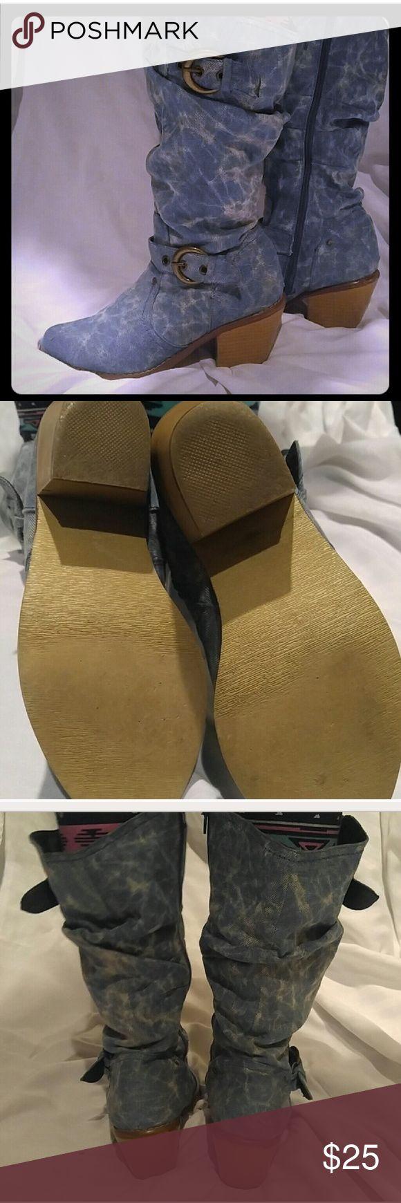 Selling this Denim cowboy boots on Poshmark! My username is: mrs_clwayne. #shopmycloset #poshmark #fashion #shopping #style #forsale #Shoes