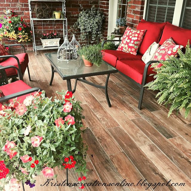 kristens creations wood look tile it went right over the concrete just as you - Patio Tiles Ideas