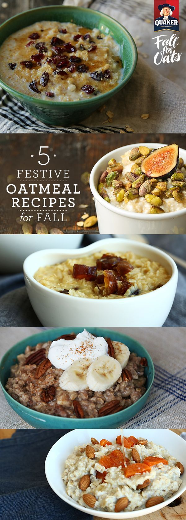 Top your Quaker® oatmeal with walnuts, figs, even maple syrup in the morning for a delicious, festive Fall breakfast. Just grab a spoon, and you're ready to take on the day.