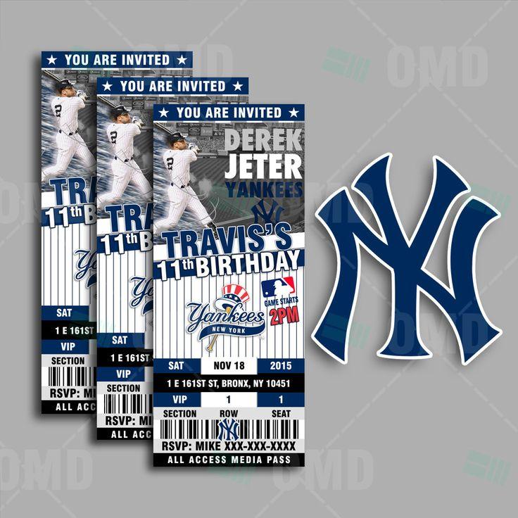 2.5x6 New York Yankees Sports Party Invitation, Deter Sports Tickets Invites, NY Baseball Birthday Theme Party Template by sportsinvites on Etsy
