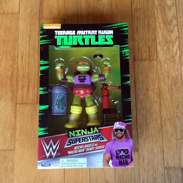 2016 Teenage Mutant Ninja Turtles Playmates Toys / World Wrestling Entertainment (WWE)  Ninja Superstars  WALMART EXCLUSIVE  Michaelangelo as MACHO MAN RANDY SAVAGE  New in Box (NIB) Sealed Directly from Playmates Toys via Pre-order from Ringside Collectibles, Inc  RIP MACHO MAN WE LOVE YOU BROTHER