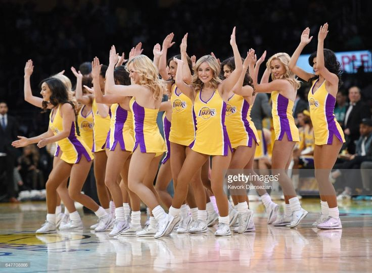 Lakers girls perform during the basketball game between Los Angeles Lakers and Boston Celtics at Staples Center March 3 2017, in Los Angeles, California.