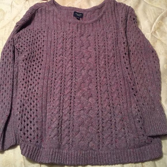 AMERICAN EALGE CABLE-KNIT SWEATER Light purple American Eagle Outfitters Tops Sweatshirts & Hoodies