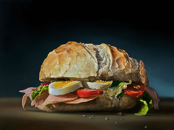 HiperrealismoRealistic Painting, The Real, Food Painting, Healthy Sandwiches, Food Art, Foodart, Art Painting, Oil Painting, Tjalf Sparnaay