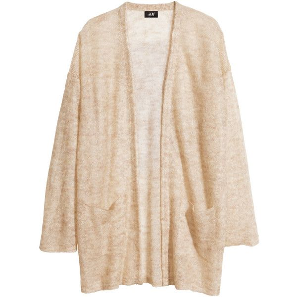 H&M Mohair blend cardigan ($17) ❤ liked on Polyvore featuring tops, cardigans, jackets, outerwear, light beige, loose fitting tops, pink cardigan, pink top, loose tops and beige top