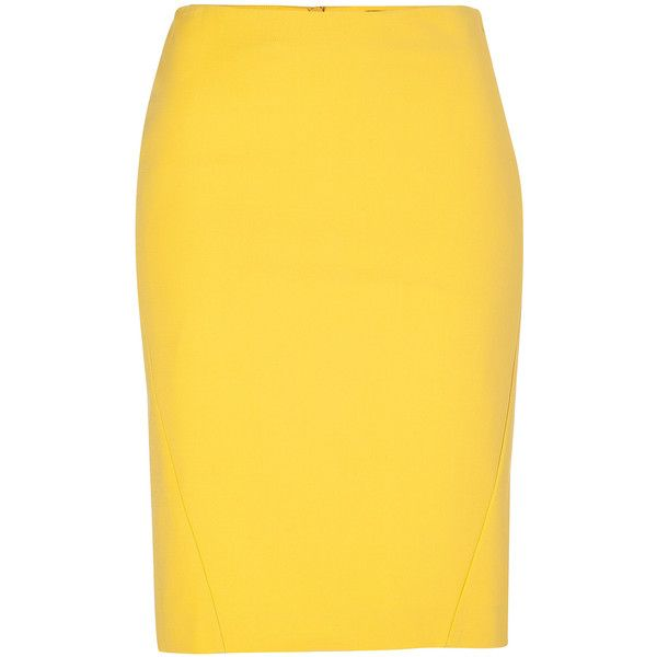 PIAZZA SEMPIONE Stretch Cotton Skirt in Bright Yellow ($265) ❤ liked on Polyvore