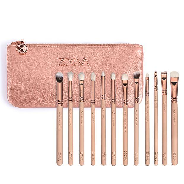 Güzel kalite Zoeva 12 parça gül altın komple göz seti göz farı eyeliner harmanlayan kalem makyaj fırçalar