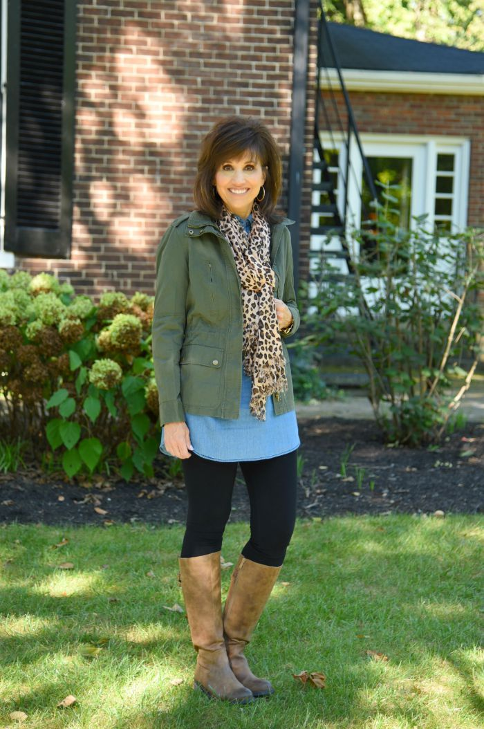 Utility jacket,  chambray tunic,  black pants,  brown boots,  leopard scarf