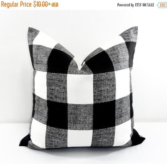 Black Buffalo Checkered Pillow cover. Black and White Country Decor. 1 Piece. Choose Size.  Give your home an INSTANT MAKEOVER just by changing the pillows! Our pillow covers are SLIPCOVERS for your pillows! They can be slipped on a pillow you already have or over a pillow purchased from any craft store or online.  COVERS: →Same fabric on front and back → Envelope closure →Double stitched all hems →Triple stitched on all stress points → Serged for a professional finish →Attention to details…