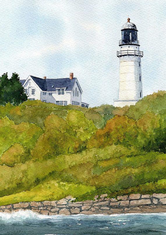 Point Montara Lighthouse Hostel California Matted Watercolor Art Prints